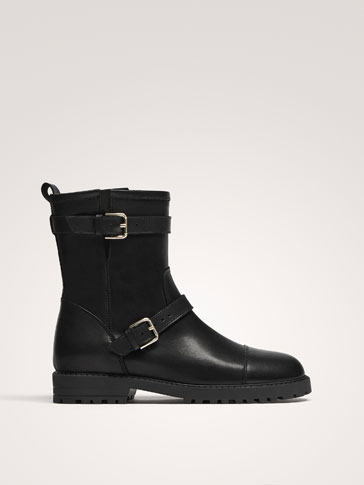 BLACK LEATHER DOUBLE BUCKLE BIKER BOOTS