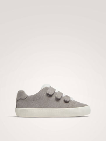 GREY SPLIT SUEDE TRAINERS WITH STRAPS