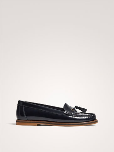 BLUE ANTIK LEATHER LOAFERS WITH TASSELS
