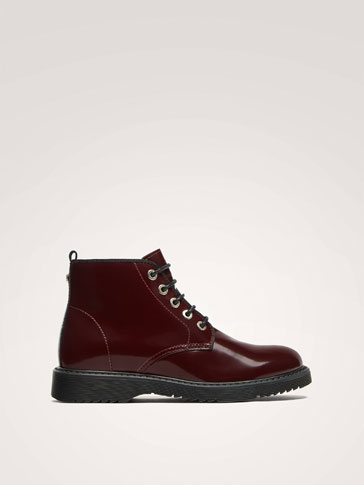 BURGUNDY LEATHER ANKLE BOOTS WITH GLOSSY FINISH