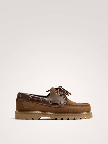 BROWN SPLIT SUEDE LEATHER DECK SHOES