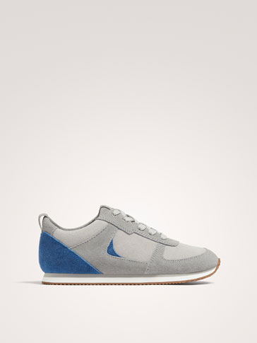 CONTRASTING SPLIT SUEDE LEATHER SNEAKERS