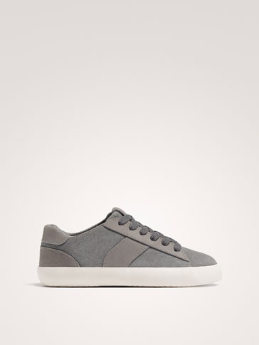 GREY SPLIT SUEDE LEATHER PLIMSOLLS