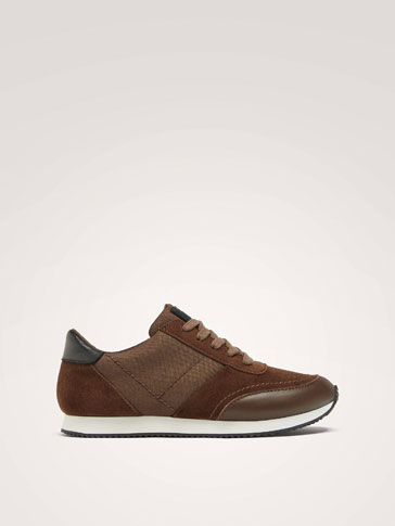CONTRAST BROWN TRAINERS