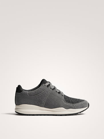 CONTRAST GREY LEATHER TRAINERS