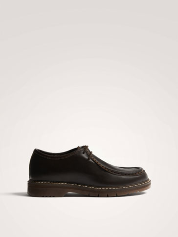 BROWN LEATHER MOC TOE SHOES