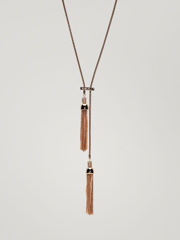NECKLACE WITH TWO MATCHING TASSEL DETAILS