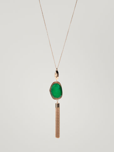SEMI-PRECIOUS STONE AND TASSEL NECKLACE
