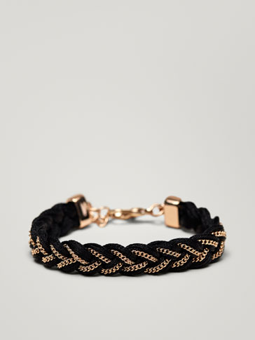 BRAIDED BRACELET WITH METAL DETAIL