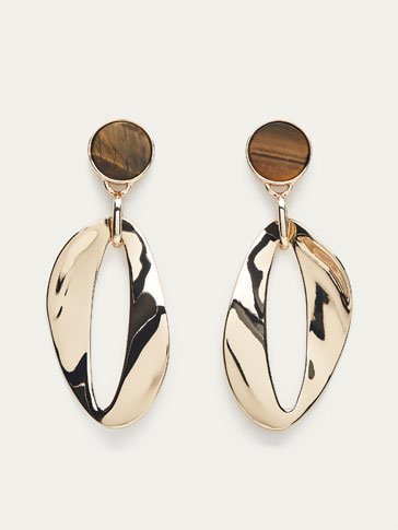 TIGER'S EYE EARRINGS WITH WAVY DETAIL