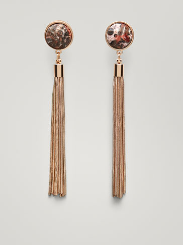 EARRINGS WITH TASSEL AND NATURAL STONE DETAILS