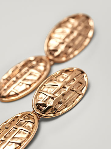 Two Piece Embossed Metal Earrings by Massimo Dutti