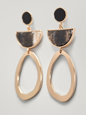 EARRINGS WITH HOOP AND MARBLE-EFFECT PIECE