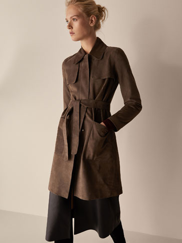 SUEDE TRENCH COAT WITH BELT DETAIL