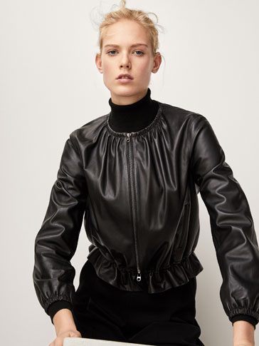 NAPPA LEATHER JACKET WITH GATHERED DETAIL