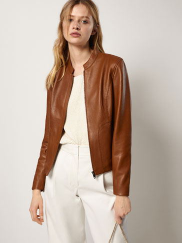 NAPPA LEATHER JACKET WITH PLACKET DETAIL