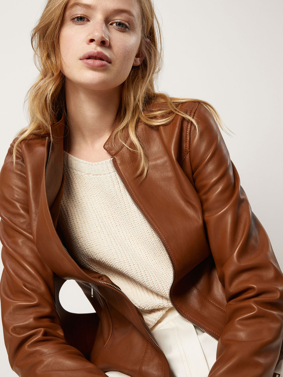 Nappa Leather Jacket With Placket Detail by Massimo Dutti
