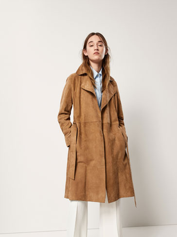 SUEDE TRENCH COAT WITH SEAM DETAILS