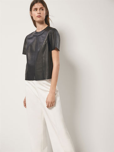 NAPPA LEATHER TOP WITH INSERTED LACE DETAIL