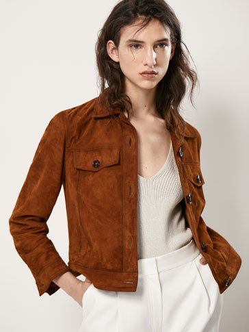 SUEDE DENIM-STYLE JACKET WITH POCKETS