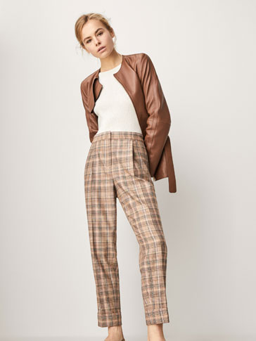 CHECKED WOOL JOGGING TROUSERS