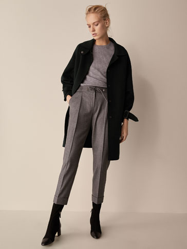 FLANNEL JOGGING TROUSERS WITH BOW DETAIL