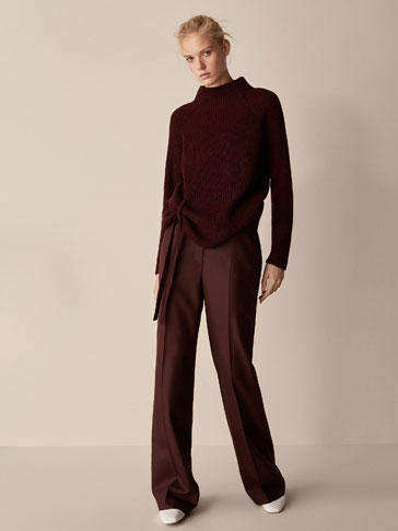WOOL TROUSERS WITH BELT DETAIL