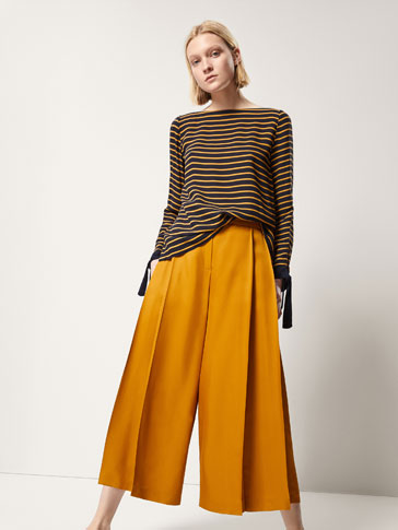 CULOTTE FIT TROUSERS WITH PLEATS