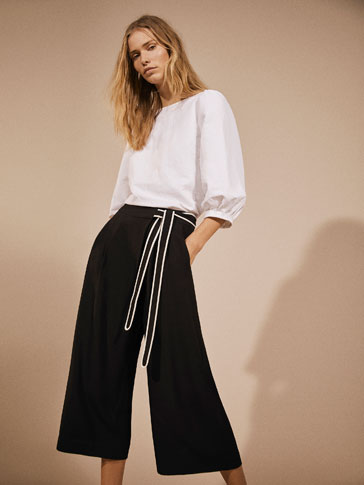 CULOTTE FIT TROUSERS WITH CONTRASTING BOW