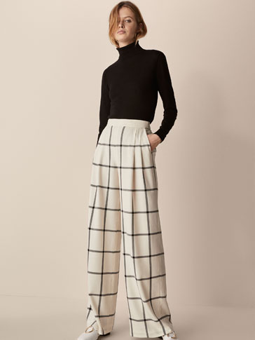CHECKED WOOL TROUSERS WITH DARTS DETAIL