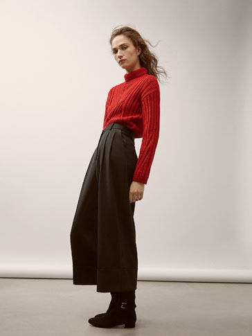 PANTALON LAINE À PINCES CULOTTE FIT