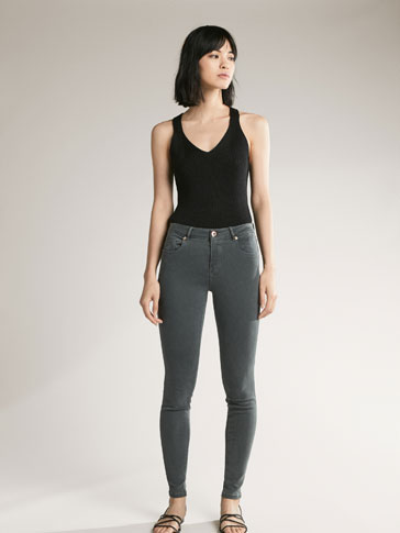GRIJZE DENIM BROEK SUPERSKINNY FIT