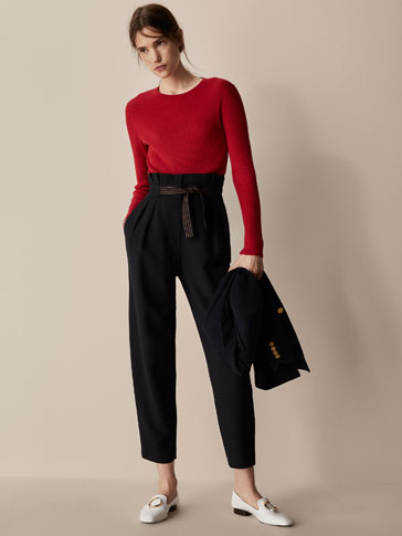 SLIM FIT TROUSERS WITH CONTRASTING BOW