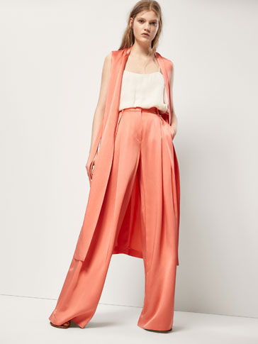 SATIN TROUSERS WITH GEM DETAIL