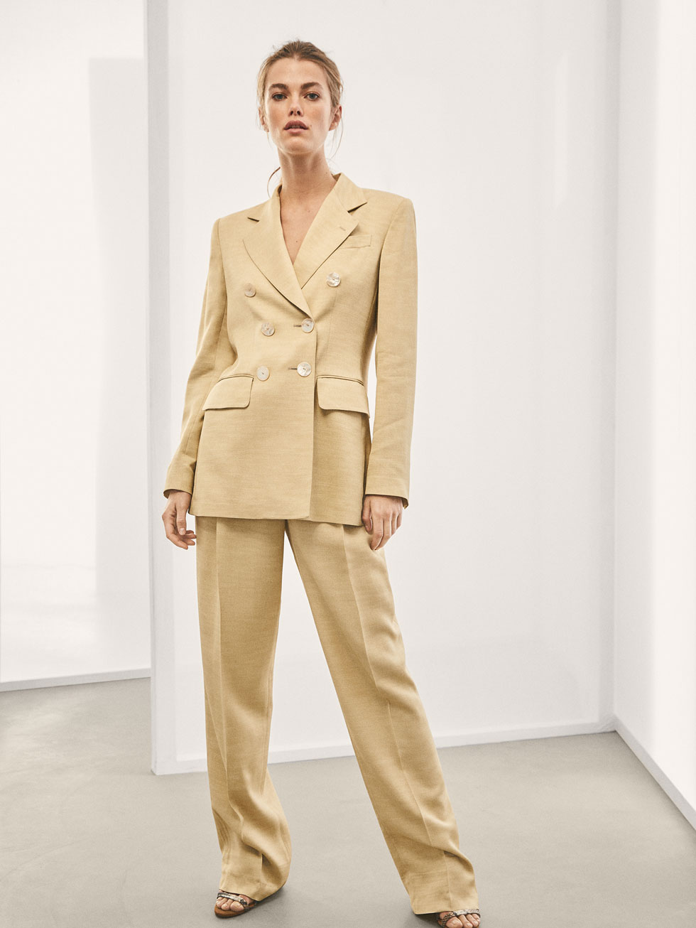 Limited Edition Wide Fit Linen Trousers by Massimo Dutti
