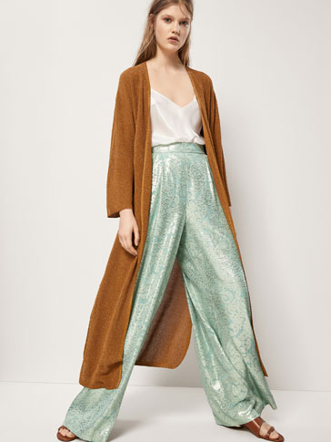 EMBELLISHED SILK AND BROCADE TROUSERS