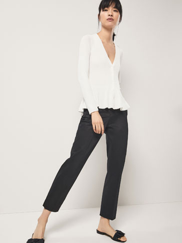 CHINO TROUSERS WITH BELT DETAIL