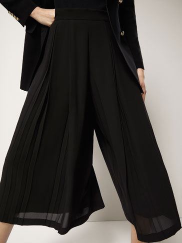 CULOTTE FIT FLOWING TROUSERS WITH PLEATS