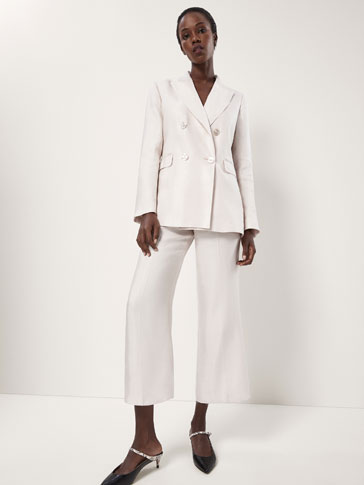 CROPPED SHINY LINEN SUIT TROUSERS