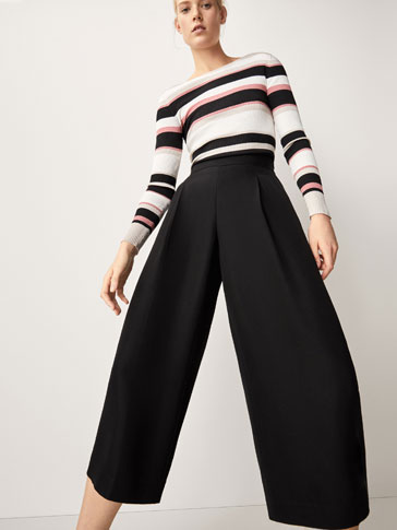 CULOTTE FIT TROUSERS WITH DARTS DETAIL