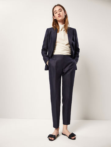 SLIM FIT LINEN SUIT TROUSERS