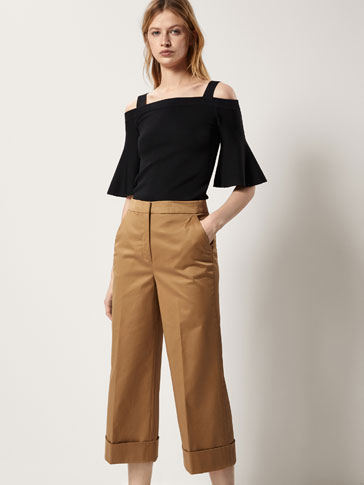 CULOTTE FIT SATIN COTTON TROUSERS
