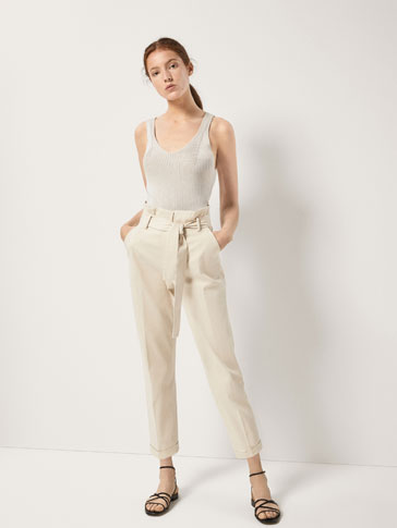CHINO TROUSERS WITH A TIE DETAIL