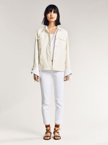 Cropped Denim Trousers by Massimo Dutti