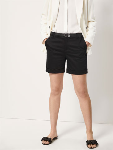 COTTON BERMUDA SHORTS WITH TURN-UP HEM DETAIL