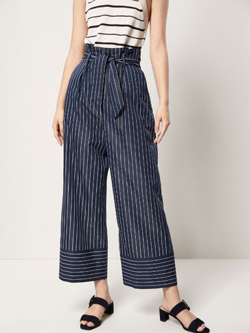 STRIPED TROUSERS WITH TIED BOW DETAIL