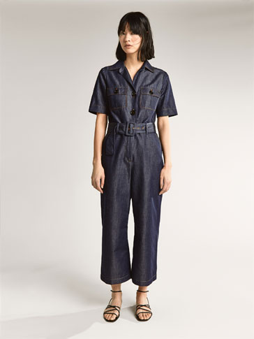 DENIM JUMPSUIT WITH TOPSTITCHING DETAIL