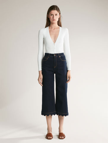 PANTALON FINITION ONDULÉE CROPPED FIT