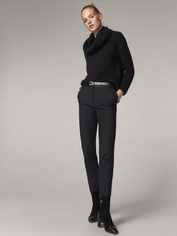 SLIM FIT BLACK TROUSERS WITH CONTRASTING DETAIL