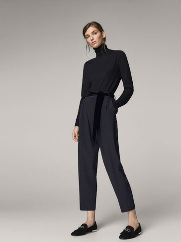 JOGGING FIT TROUSERS WITH VELVET BELT
